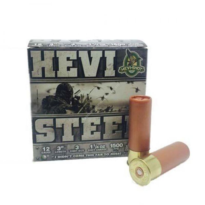 """Hevi-Shot Hevi-Steel 12 Gauge Shotshell 250 Rounds 3"""" #3 Steel 1 1/4 Ounce"""