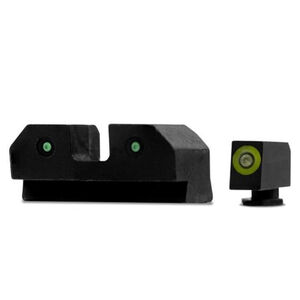 XS Sights RAM Night Sights Fits GLOCK 17/19/26 Traditional 3 Dot Tritium Night Sight Configuration High Contrast Green Front Steel Construction Black