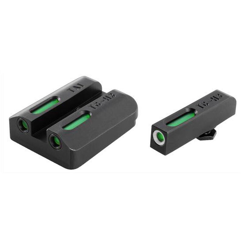 TRUGLO Tritium Pro Ruger LC9/9S/380 Night Sight Set Green Tritium 3-Dot Configuration Front White Focus Lock Ring Steel Black