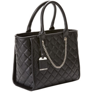 Bulldog Tote Style Purse Quilted Black Nylon