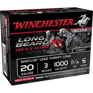 "Winchester Long Beard XR 20 Gauge Ammunition 10 Rounds 3"" #6 Plated Lead 1.25 Ounce STLB2036"