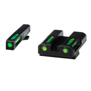 HiViz Litewave H3 Tritium/Litepipe fits GLOCK 9mm/.40S&W/.357SIG Models Green Front Sight with Orange Front Ring/Green Rear Sight Steel Housing Matte Black