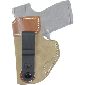 DeSantis 106 GLOCK 19, 23, 32, 36, SIG P229, P228, P239, Springfield XD9, XD40 Sof-Tuck Inside the Pant Left Hand Leather Tan