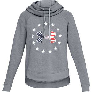Under Armour Women's UA Freedom Logo Favorite Hoodie Size Medium Cotton/Poly/Fleece Blend Steel Light Heather Gray