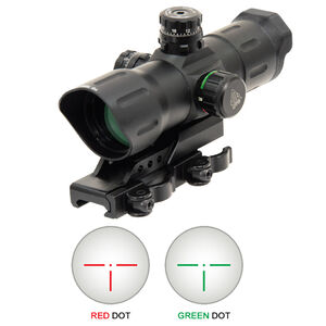 "Leapers UTG 6"" ITA Red/Green CQB Sight T-Dot Reticle 1/2 MOA Adjustments Zero Lock/Zero Rest Turrets Offset QD Mount Matte Black SCP-TDTDQ"