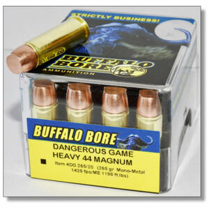 Buffalo Bore Dangerous Game .44 Remington Magnum Ammunition 20 Rounds Mono-Metal Flat Nose 265 Grain 4DG 265/20