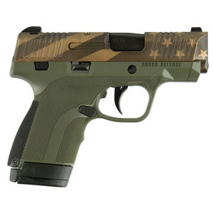 "Honor Defense Honor Guard Sub-Compact Semi Auto Pistol 9mm Luger 3.2"" Barrel 7/8 Round Magazine Snag Free Sights US Flag OD Green Tone Slide /OD Green Frame Finish"