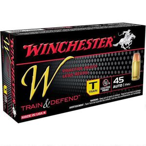 Winchester W Train and Defend .45 ACP Ammunition 230 Grain FMJ 850 fps
