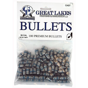"Great Lakes Bullets and Ammunition .38 Special/.357 Mag .358"" Diameter 158 Grain Cast Lead Round Nose Bullets 100 Pack B688433"