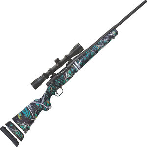 """Mossberg Patriot Youth Super Bantam Scoped Combo 6.5 Creedmoor Bolt Action Rifle 20"""" Fluted Barrel 5 Rounds 3-9x40mm Scope Serenity Camo Synthetic Stock Matte Blue Finish"""