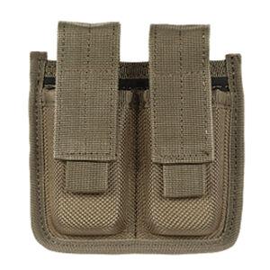 Voodoo Tactical Molded Double Pistol Magazine Pouch Velcro Flap Closure MOLLE/PALS Compatible Nylon Coyote Tan