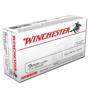 Winchester USA 9mm Luger Ammunition, 1000 Rounds, FMJ, 115 Grain