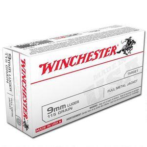 Winchester USA 9mm Luger Ammunition 50 Rounds FMJ 115 Grain 1190 fps