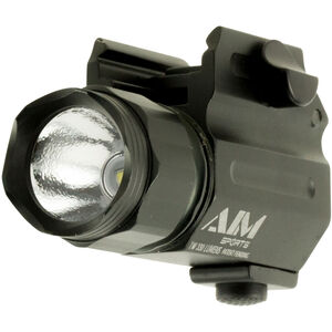 AIM Sports Compact Flashlight Handgun Light 330 Lumen CREE LED 1x CR2 Battery Push Button QR Weaver Rail Mount Black