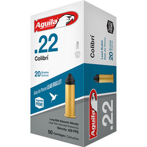 Aguila Colibri Subsonic .22 LR Ammunition 50 Rounds 20 Grain Conical 420fps