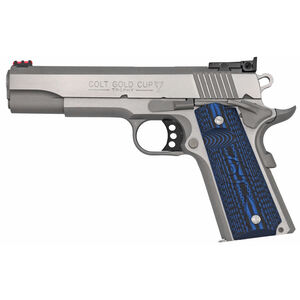 "Colt 1911 Gold Cup Lite Semi Auto Pistol .38 Super 5"" National Match Barrel 9 Rounds Fiber Optic Front Sight/Bomar Style Rear Sight Colt G10 Grips Brushed Stainless Steel"