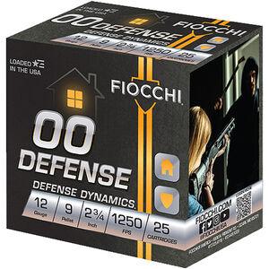 "Fiocchi Shooting Dynamics Buckshot 12 Gauge Ammunition 10 Rounds 2.75"" 00 Buckshot 9 Pellets Lead 1325fps"