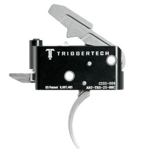 Trigger Tech Adaptable AR-15 Primary Drop In Replacement Trigger Curved Lever Two Stage Adjustable Natural Stainless Steel Finish
