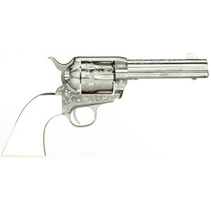 "Taylor's & Co Outlaw Legacy .357 Mag Single Action Revolver 4.75"" Barrel 6 Rounds Synthetic Ivory Grips Outlaw Gang Engraved Nickel Finish"