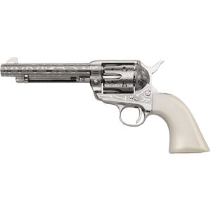 "Taylor's & Co. Inc. 1873 Cattle Brand .357 Mag Single Action Revolver 5.5"" Barrel 6 Rounds Blade Front Simulated Ivory Grip Engraved Nickel Finish"