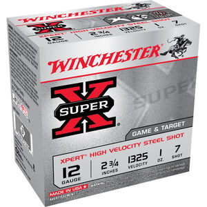 "Winchester Super X Expert 12 Gauge Ammunition 25 Rounds 2.75"" #7 Steel 1 Ounce WE12GT7"