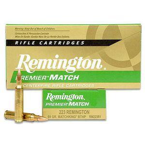 Remington Premier Match .223 Remington Ammunition 20 Rounds 69 Grain Sierra MatchKing Boat Tail Hollow Point Projectile 3025fps