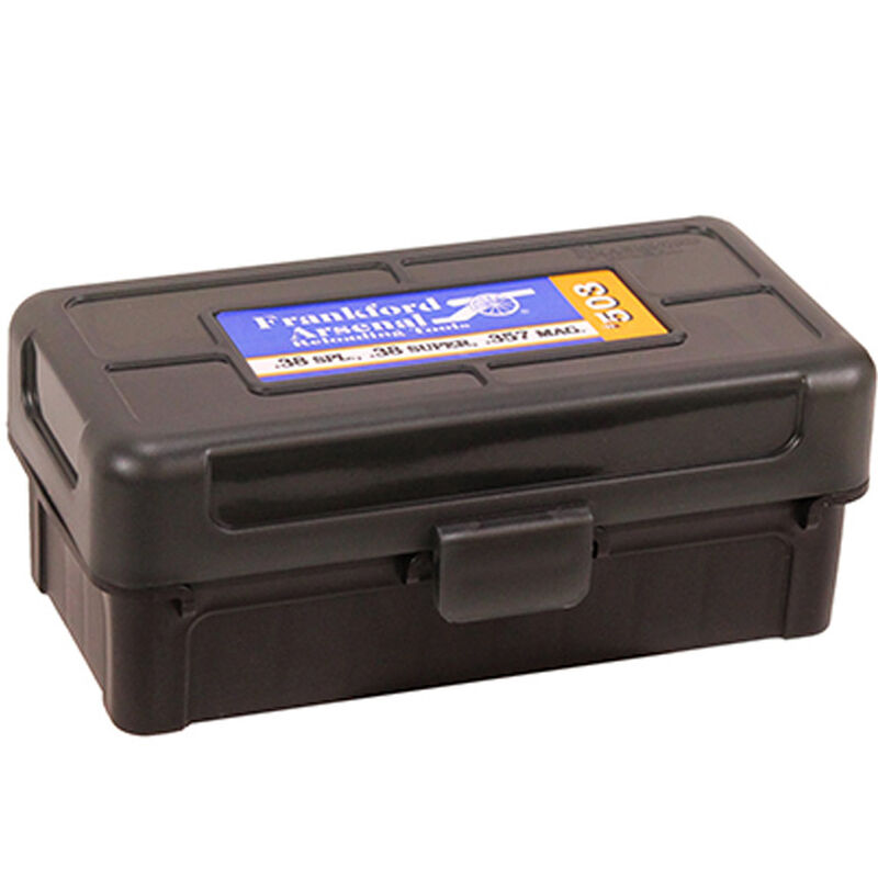 Frankford Arsenal Plastic Hinge-Top Ammo Box 50 Round .38 Spl/.357 Magnum and Similar Polymer Gray