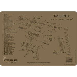 "Cerus Gear SIG P320 Schematic ProMat Handgun Size 12""x17"" Synthetic Coyote Tan"