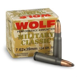 Wolf Military Classic 7.62x39mm Ammunition 124 Grain Bi-Metal Jacketed SP Steel Cased 2402