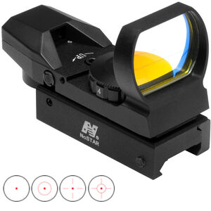 NcSTAR Red Four Reticle Reflex Optic Dot/Bullseye/Cross/Starburst Illuminated 3 MOA Dot Aluminum Anodized Black