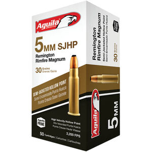 Aguila 5mm RRM Ammunition 50 Rounds 30 Grain SJHP 2300fps