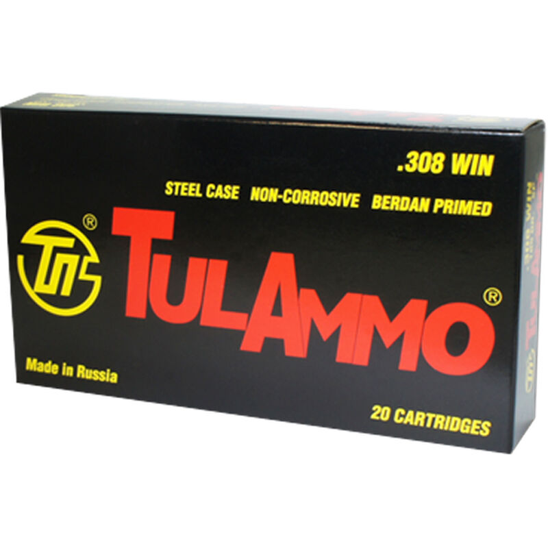 TulAmmo  308 Win Ammunition 20 rounds 165 Grain SP Steel Case 2625 fps