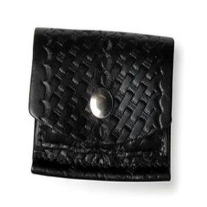 """Boston Leather Cartridge Pouch 2"""" x 2"""" x 2"""" Bullet Pouch Top Grain Leather Plain Black 5637-1"""