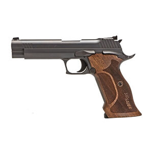 "SIG Sauer P210 Target Semi Auto Pistol 9mm Luger 4.7"" Barrel 8 Rounds Adjustable Sights Target Walnut Grip Nitron Black Finish"