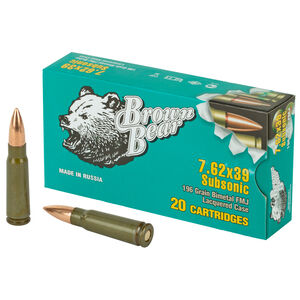 Brown Bear 7.62x39 Soviet Ammunition 20 Rounds 196 Grain Full Metal Jacket Steel Cased Subsonic 1115fps