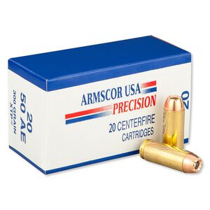 Armscor USA .50 AE Ammunition 400 Rounds Hornady XTP JHP 300 Grains F AC 50AE-1N