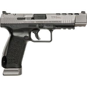 "Canik TP9SFx 9mm Luger Semi Auto Pistol 5.2"" Match Grade Barrel Fiber Optic Front Sight Interchangeable Backstraps Polymer Frame Tungsten Gray/Black Finish"