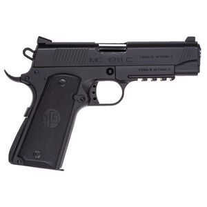 "EAA GiRSAN MC1911C Commander Model 9mm Luger Semi Auto Pistol 4.4"" Barrel 9 Rounds Ambidextrous Safety Matte Black Finish"