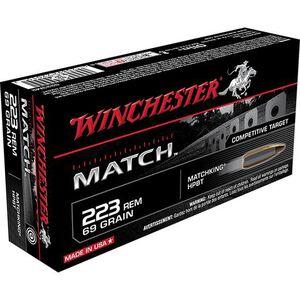 Winchester Match .223 Rem Ammunition 20 Rounds, BTHP, 69 Grains