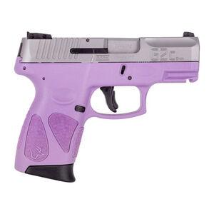 "Taurus PT111 G2C Compact 9mm Luger Semi Auto Pistol 3.2"" Barrel 12 Rounds 3 Dot Sights Matte Stainless Steel Slide/Light Purple Frame"