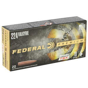Federal Premium Barnes TSX .224 Valkyrie Ammunition 20 Rounds 78 Grain Barnes Triple-Shock X Projectile