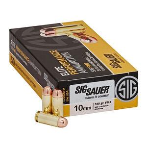 SIG Sauer Elite Performance 10mm Auto Ammunition 50 Rounds 180 Grain Full Metal Jacket 1250fps