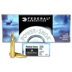 Federal Power-Shok .223 Rem Ammunition 55 Grain JSP 3240 fps