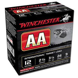 "12 Gauge Winchester AA International Target Load 2-3/4"" #9 Lead 24 Grams 1350 fps 250 Round Case AANL129"