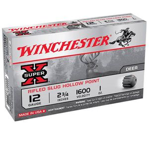 "Winchester Super-X 12 Gauge Ammunition, 1oz Rifled HP Slug, 5 Round Box, 2.75"" Shell"