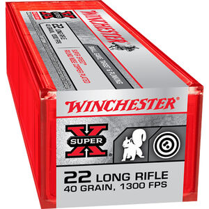 Winchester Super-X Super Speed .22LR Ammunition 40 Grain Copper Plated LRN 100 Rounds 1300 fps