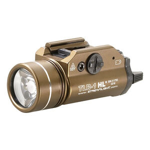 Streamlight TLR-1 HL LED Tactical Weaponlight 800 Lumen White Light Output 2x CR123A Lithium Batteries Toggle Switch Picatinny Mount Aluminum Body Flat Dark Earth Brown 69267