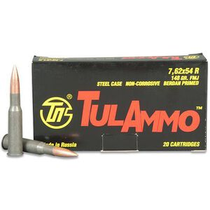TulAmmo 7.62x54R Ammunition 20 Rounds FMJ 148 Grains TA762548