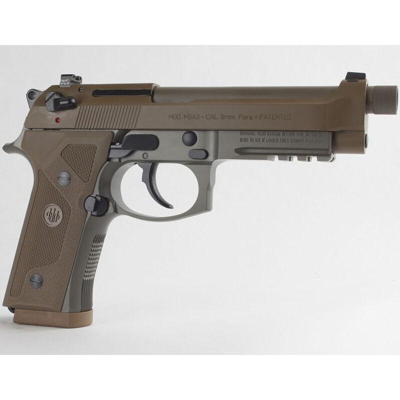 """Beretta M9A3 G 9mm Luger SA/DA Semi Auto Pistol 5"""" Threaded Barrel 10 Rounds Night Sights Decocker Polymer Grips FDE Finish"""