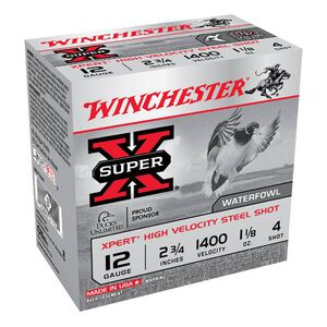 "Winchester Super X Expert 12 Gauge Ammunition 25 Rounds 2.75"" #4 Steel 1.125 Ounce WEX12H4"